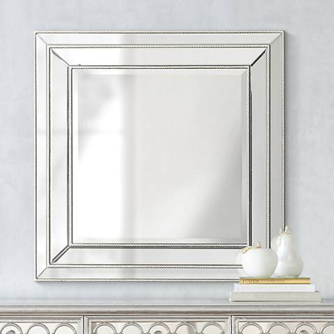"Harrel Silver Leaf 33"" Square Beveled Wall Mirror"