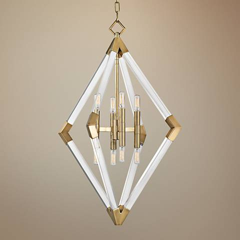 "Hudson Valley Lyons 23 1/2"" Wide Aged Brass Pendant Light"
