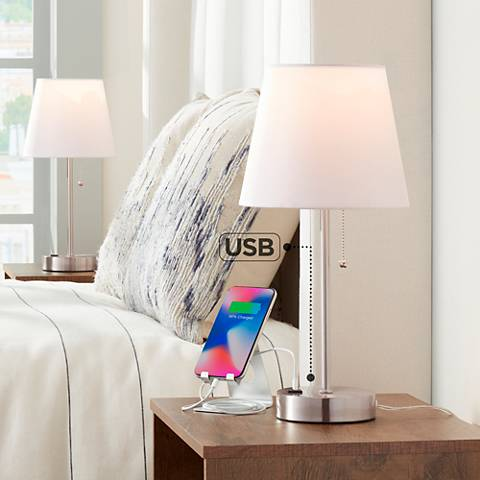 "Set of 2 Justin 18"" High Metal Accent Lamps with USB Ports"
