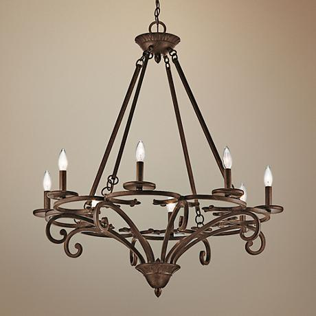 "Kichler Caldella 33"" Wide Aged Bronze 8-Light Chandelier"