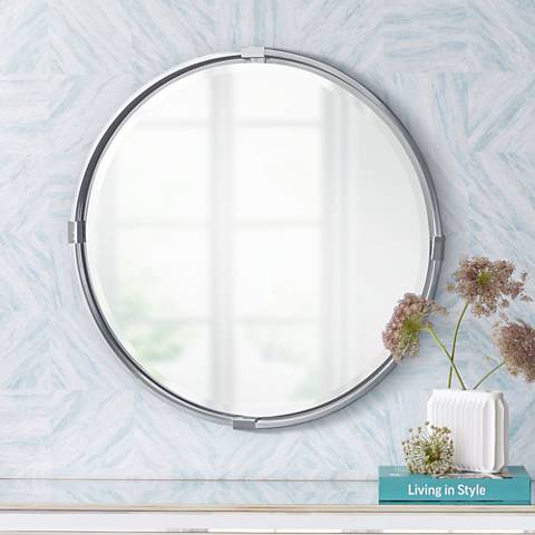 "Uttermost Tazlina Brushed Nickel 29 1/2"" Round Wall Mirror"