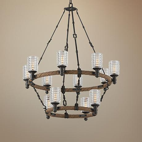 "Embarcadero 30"" Wide Shipyard Bronze Chandelier"