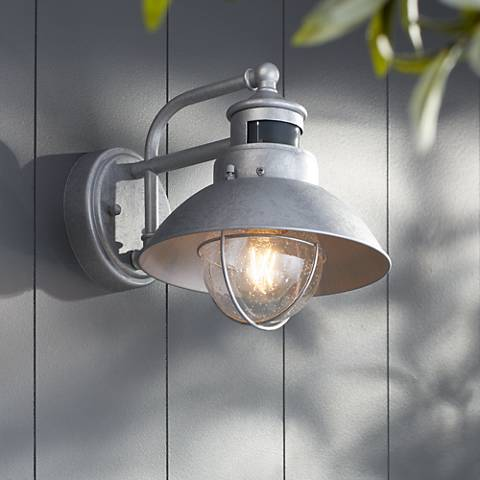 "Fallbrook 9""H Galvanized Dusk to Dawn Motion Outdoor Light"