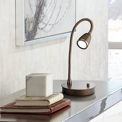 TaskWerx Bronze Flexible Gooseneck LED Task Desk Lamp