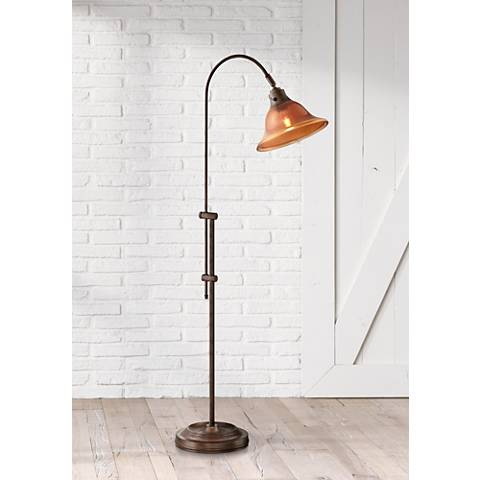 Lite Source Loretta Amber Bell Rust Industrial Floor Lamp