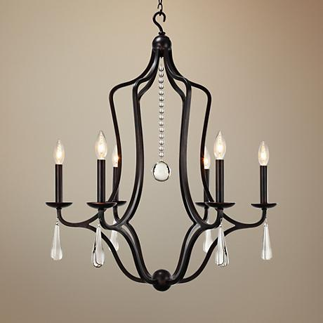 "Crystorama Manning 26""W Bronze Wrought Iron Chandelier"