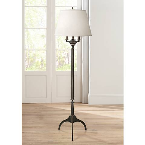 Stiffel Oxidized Bronze 4-Light Tripod Metal Floor Lamp