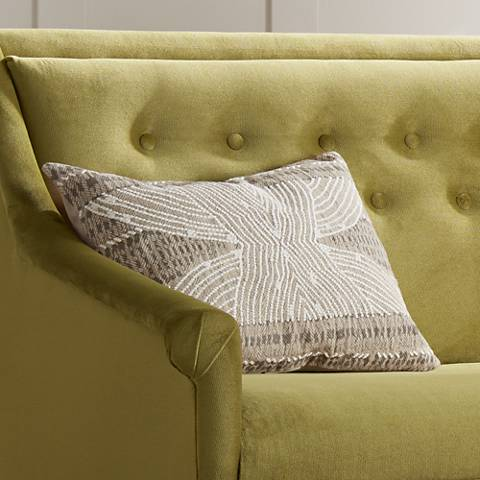 "Resort Natural 20"" x 14"" French Knot Embroidered Pillow"