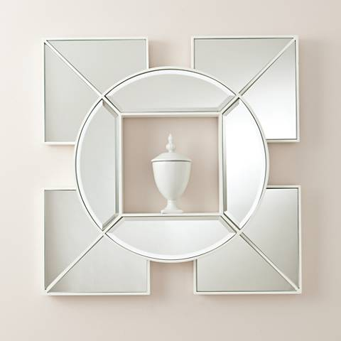 "Arabesque White Shadow Box 24"" Square Silver Wall Mirror"