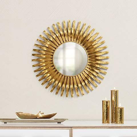 "Aztec Sunburst Gold Leaf Iron 19"" Round Wall Mirror"