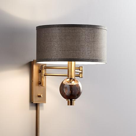 polished brass plug in swing arm wall lamp 1r145 lamps plus. Black Bedroom Furniture Sets. Home Design Ideas
