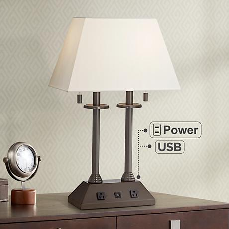 Charlton Bronze Workstation Desk Lamp with USB Port