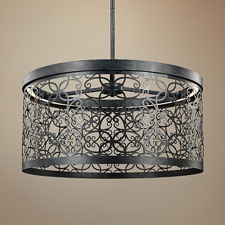 "Feiss Arramore 19""W LED Dark Zinc Outdoor Hanging Light"
