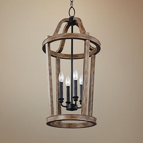 "Feiss Lorenz 15"" Wide Weathered Oak 4-Light Pendant Light"
