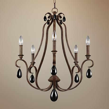 "Feiss DeWitt 25"" Wide Weathered Iron 5-Light Chandelier"