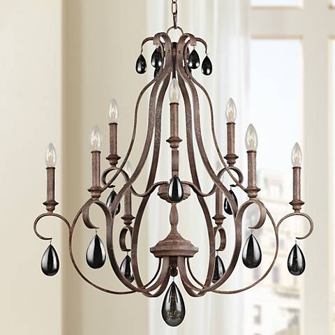 "Feiss DeWitt 30 1/2""W Weathered Iron 9-Light Chandelier"
