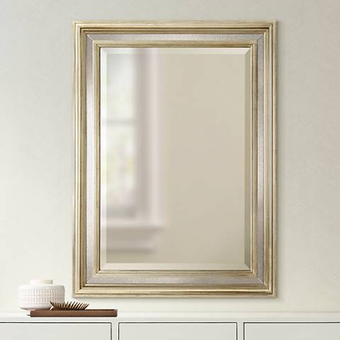 "Holcomb Antique Silver 30"" x 40"" Rectangular Wall Mirror"
