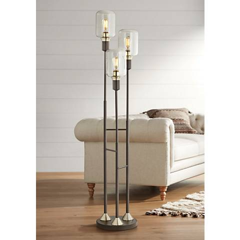 Menlo Lane Black-Bronze 3-Light Seedy Glass Floor Lamp
