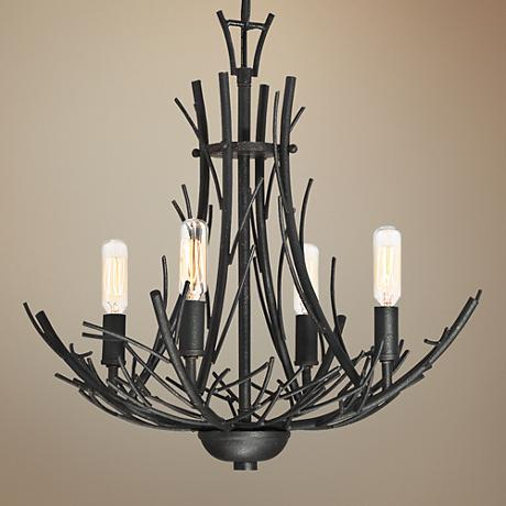 "Quoizel Thorn Hill 18""W Marcado Black 4-Light Chandelier"