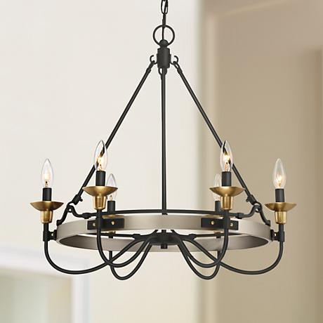 "Quoizel Castle Hill 24 3/4""W Antique Nickel Chandelier"
