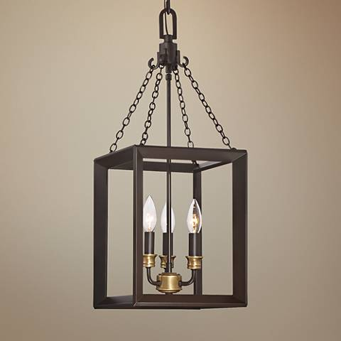 "Quoizel Brook Hall 10""W Western Bronze Mini Chandelier"