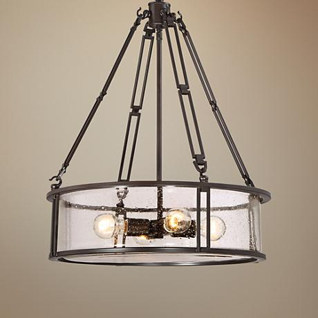 "Quoizel Buchanan 20""W Western Bronze Steel Pendant Light"