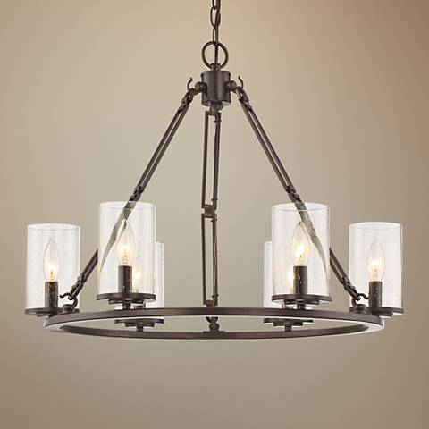 "Quoizel Buchanan 25""W Western Bronze 6-Light Chandelier"