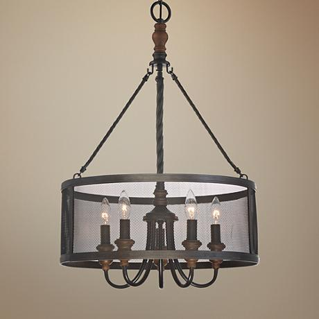 "Quoizel Odell 20"" Wide Imperial Bronze 5-Light Pendant"