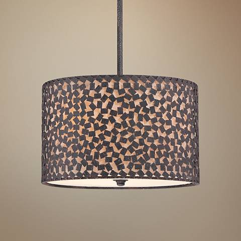 "Quoizel Confetti 16"" Wide Rustic Black 3-Light Pendant"