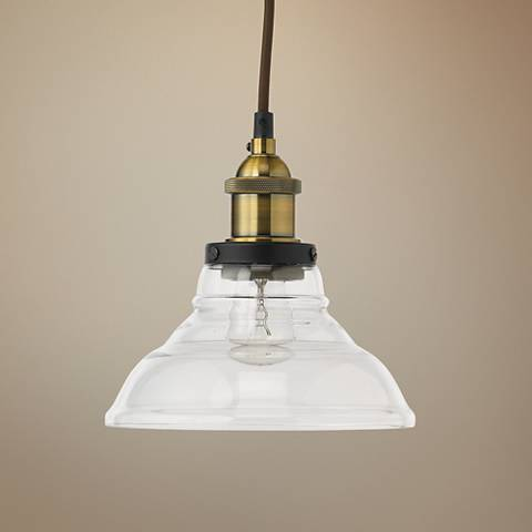 "Factory 7 1/2"" Wide Clear Glass and Brass Bell Mini Pendant"