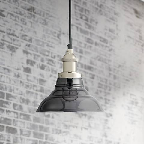 "Factory 7 1/2"" Wide Smoke Glass and Nicken Bell Mini Pendant"