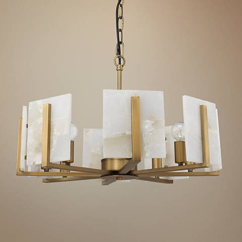"Jamie Young Halo 21"" Wide Brass and Alabaster Chandelier"