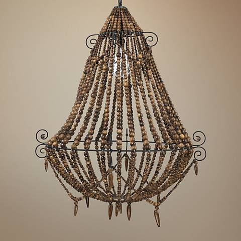 "Jamie Young Tulum 33"" Wide Brown Beads Chandelier"