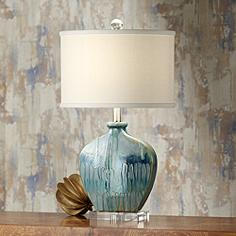 Possini Euro Mia Blue Drip Ceramic Table Lamp