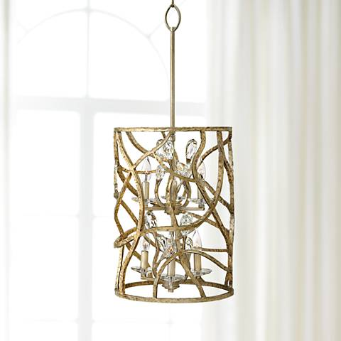 "Fredrick Ramond Eve 14 1/2""W Champagne Gold Pendant Light"