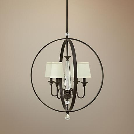 "Hinkley Waverly 24""W Oiled Bronze 4-Light Orb Chandelier"