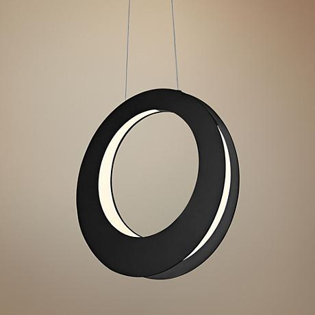 "Haro 15 3/4"" Wide Satin Black LED Pendant Light"