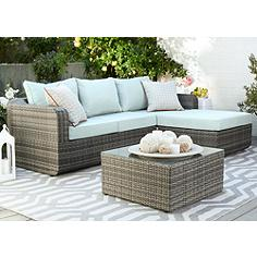 Luies Blue-Gray 3-Pc Wicker Outdoor Sectional Set