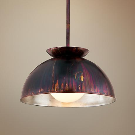"Library 28"" Wide Copper Patina Pendant Light"