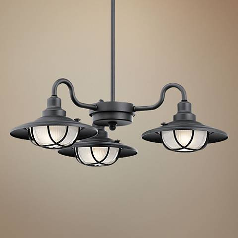 "Kichler Harvest Ridge 22 3/4"" Wide Black Outdoor Chandelier"