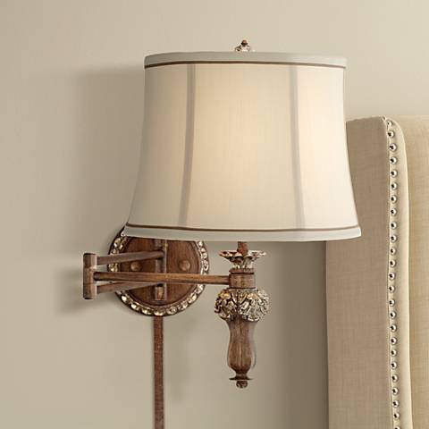 Werner Brown and Gold Plug-In Swing Arm Wall Lamp