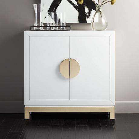 Walden Glossy White 2-Door Accent Cabinet