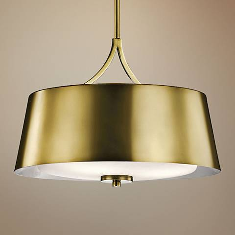 "Kichler Maclain 16"" Wide Natural Brass 3-Light Pendant"