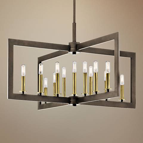 "Kichler Cullen 38 3/4""W Bronze 13-Light Linear Chandelier"