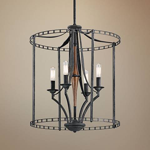 "Kichler Clague 18"" Wide Black 4-Light Large Foyer Pendant"