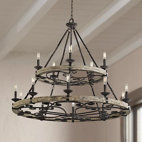 "Kichler Taulbee 44"" Wide Aged Zinc 15-Light Chandelier"