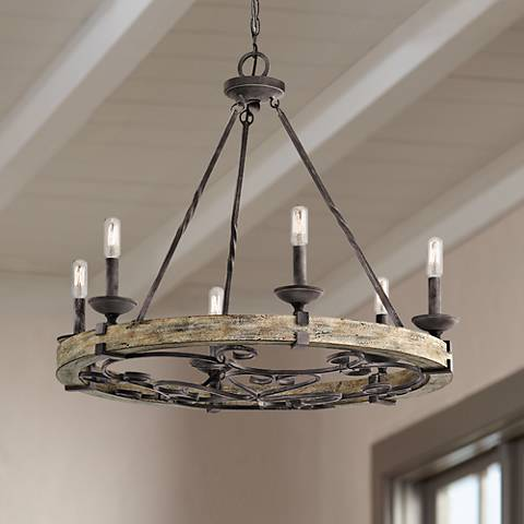 "Kichler Taulbee 28 1/2"" Wide Aged Zinc 6-Light Chandelier"