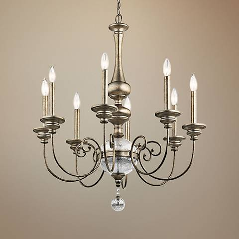 "Kichler Rosalie 32"" Wide Sterling Gold 8-Light Chandelier"