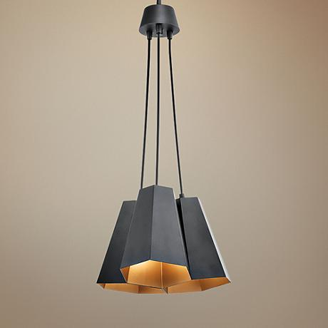 "Kichler Aidan 3-Light 14"" Wide Black Multi-Light Pendant"
