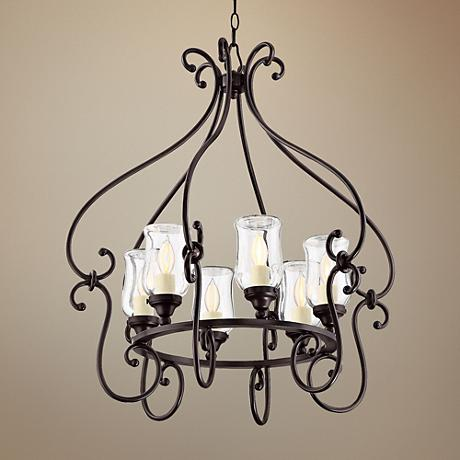 "Savoy House Weston 28""W English Bronze Outdoor Chandelier"